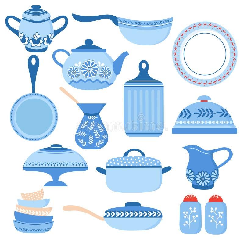 动画片炊具 厨房陶器和玻璃器皿 盘、杯子和茶壶 烹调工具传染媒介隔绝了集合 库存例证