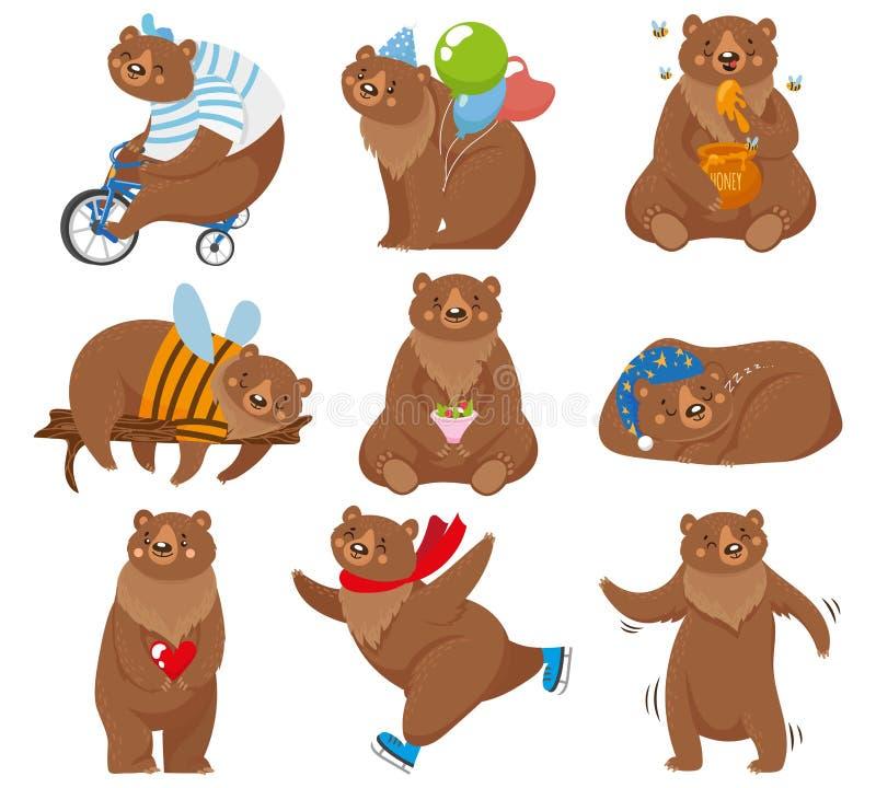 动画片熊 愉快的熊,北美灰熊吃在滑稽的姿势被隔绝的传染媒介例证的蜂蜜和棕熊字符 向量例证