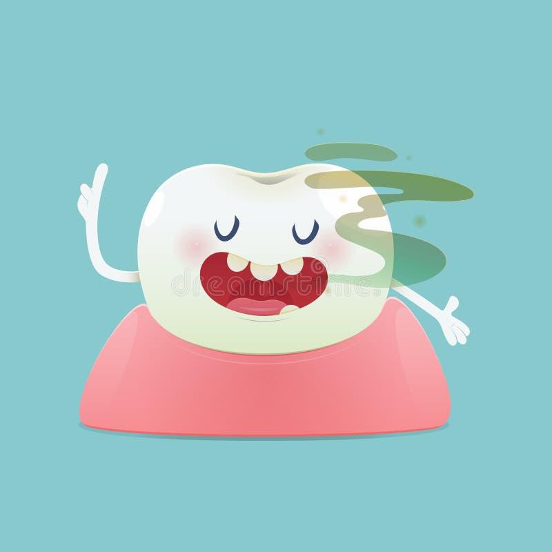 动画片牙的口臭概念有口臭的在绿色背景 向量例证