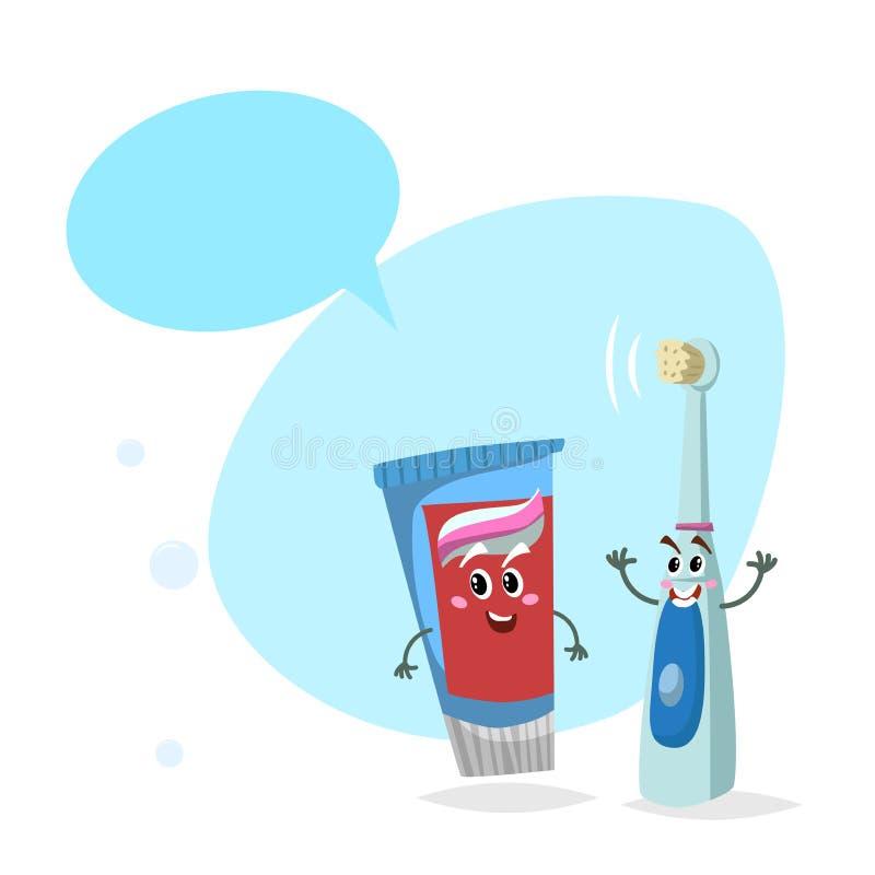 动画片牙膏管和电超声波牙刷微笑的吉祥人 与假的讲话Bu的卫生学和牙齿保护字符 库存例证