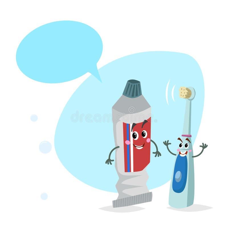 动画片牙膏管和电超声波牙刷微笑的吉祥人 与假的讲话Bu的卫生学和牙齿保护字符 向量例证