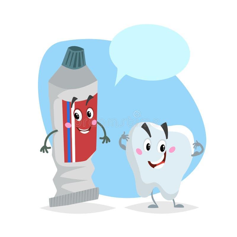 动画片牙齿保护字符 微笑的健康强的牙和牙膏管 医疗保健孩子传染媒介例证 皇族释放例证