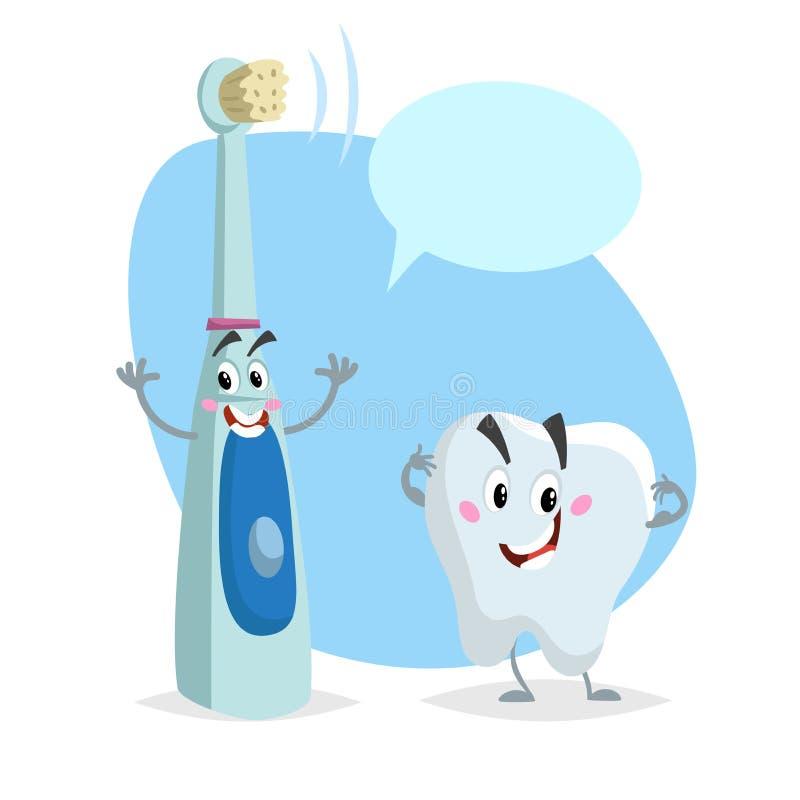 动画片牙齿保护字符 微笑的健康强的牙和电超音波愉快的牙刷 医疗保健孩子传染媒介illus 向量例证