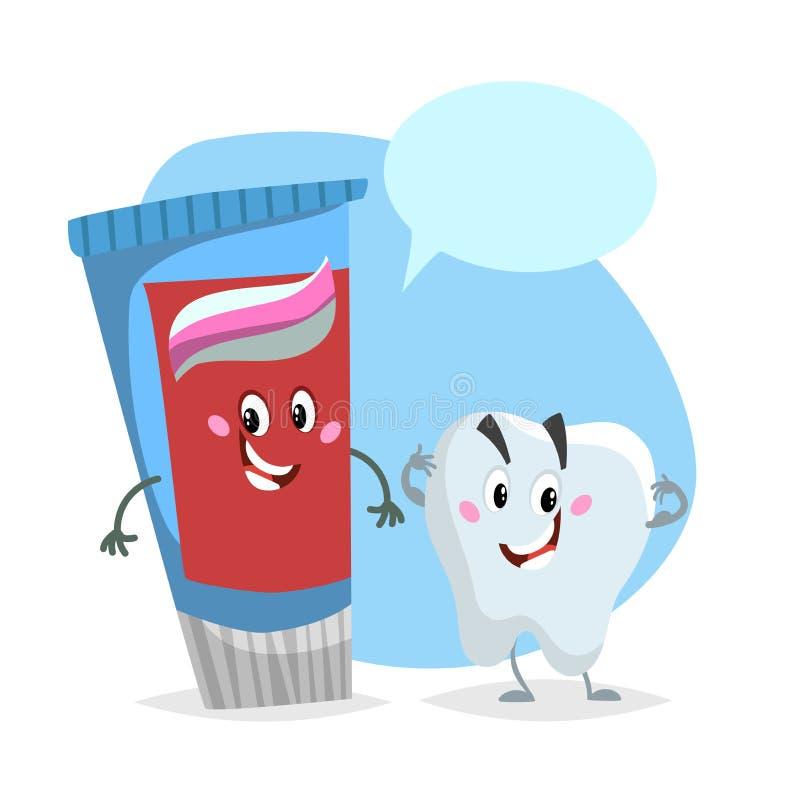 动画片牙齿保护字符 微笑的健康强的牙和蓝色牙膏管 医疗保健孩子传染媒介例证 库存例证