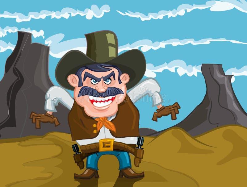 动画片牛仔邪恶的微笑 皇族释放例证