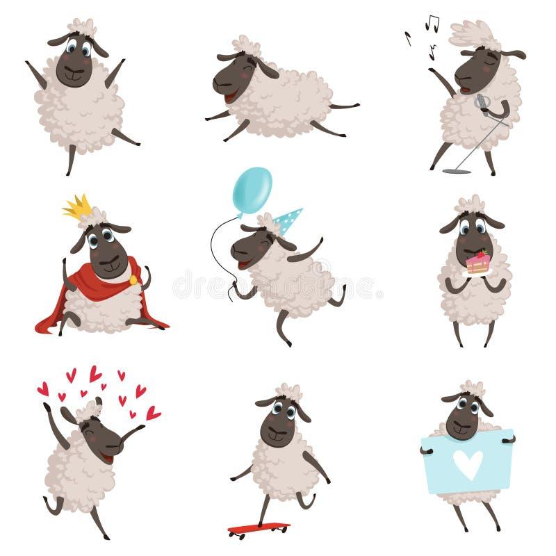 动画片牲口 演奏和做不同的行动的绵羊 在白色的传染媒介字符被设置的孤立 向量例证