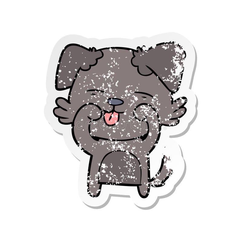 动画片狗摩擦的眼睛的困厄的贴纸 库存例证