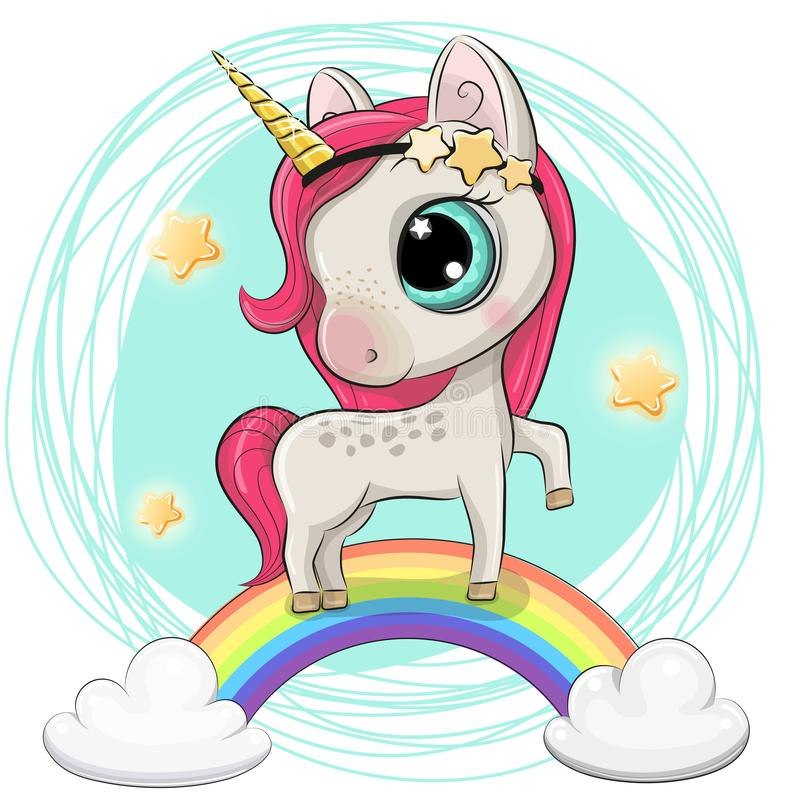 动画片独角兽在彩虹 向量例证