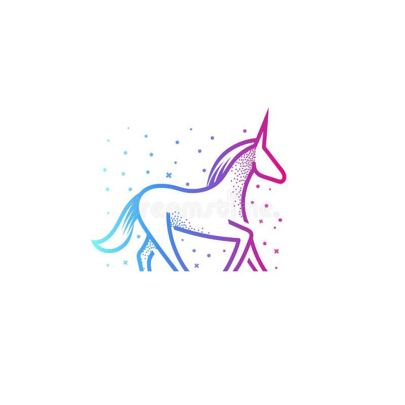 动画片独角兽线性剪影象,与垫铁的五颜六色的神仙的不可思议的马在头,在白色的传染媒介例证 皇族释放例证