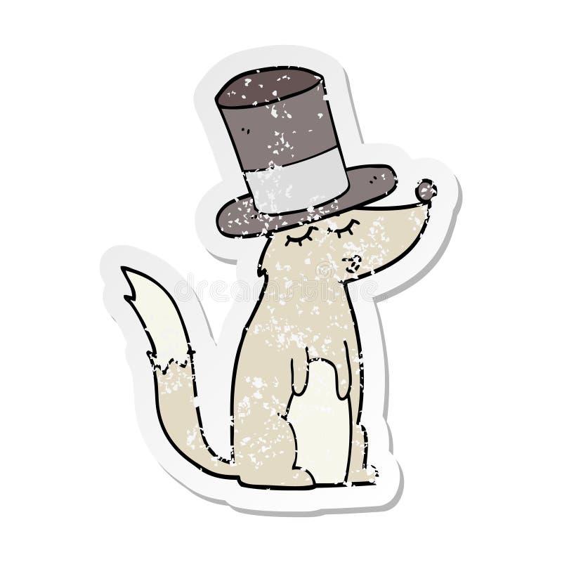 动画片狼吹哨的佩带的高顶丝质礼帽的困厄的贴纸 皇族释放例证