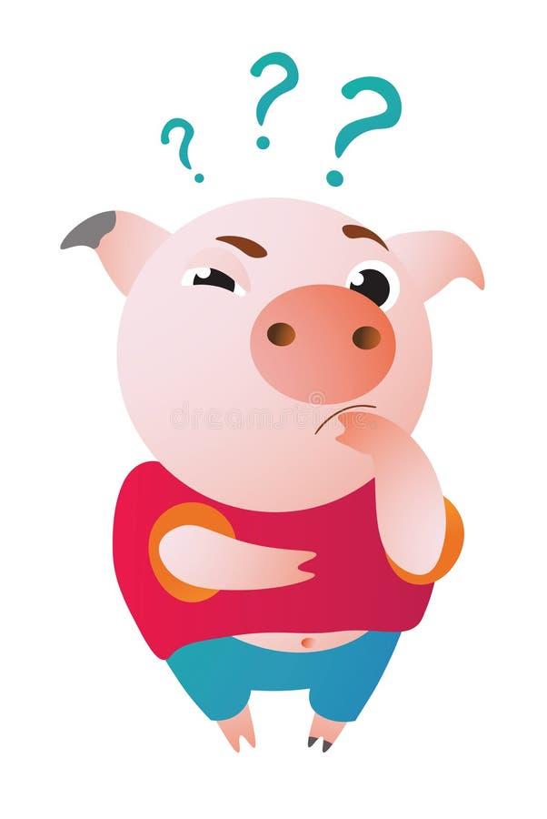 动画片猪疑惑地站立并且看我们 库存例证