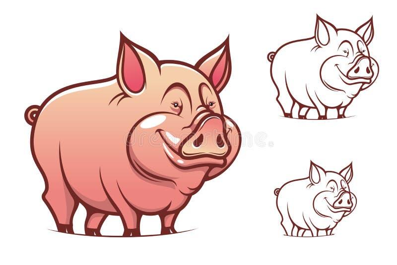 动画片猪粉红色 库存例证