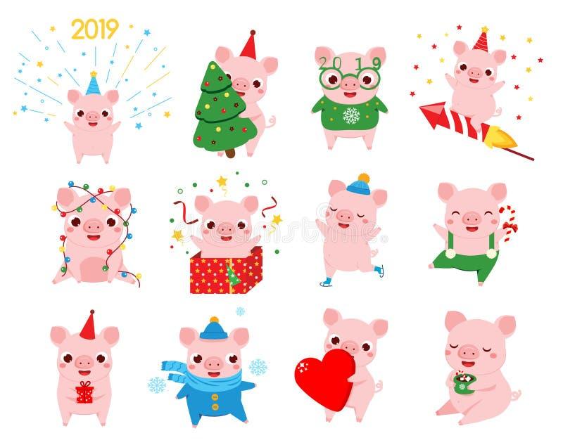 动画片猪,中国人2019新年的标志用不同的姿势 大套季节性问候的猪字符 皇族释放例证
