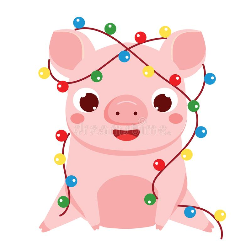 动画片猪,中国人2019新年的标志 与圣诞灯诗歌选的逗人喜爱的猪 向量例证