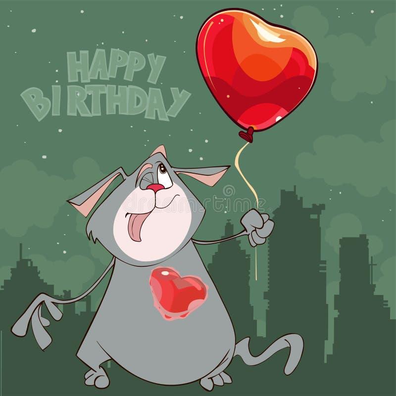 动画片猫与一气球心脏生日快乐 库存例证