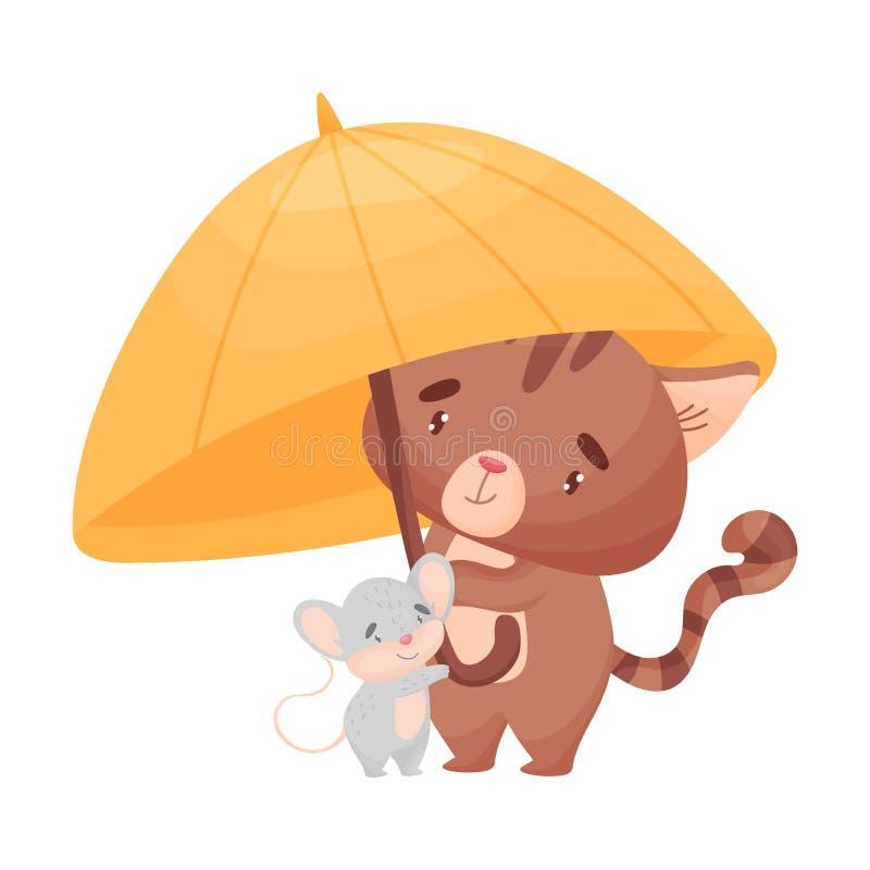 动画片猫和老鼠在伞下 r 向量例证