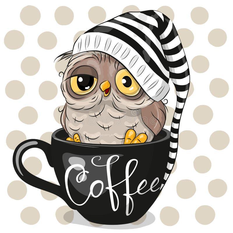 动画片猫头鹰在一杯咖啡坐 向量例证