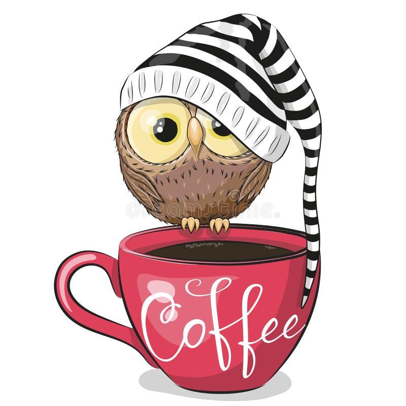 动画片猫头鹰坐一杯咖啡 皇族释放例证