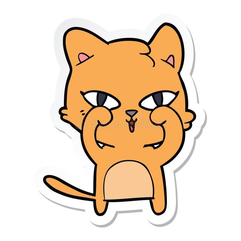 动画片猫摩擦的眼睛的贴纸 向量例证