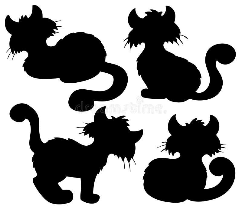 动画片猫收集剪影 向量例证