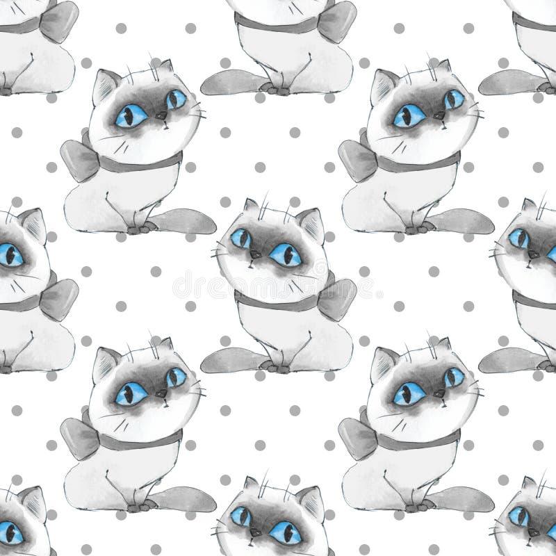 动画片猫,单色无缝的样式 皇族释放例证