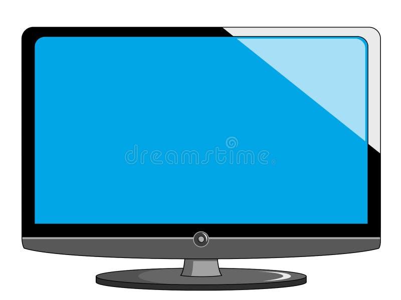 动画片现代技术平的电视或电视有立场和b的 库存例证