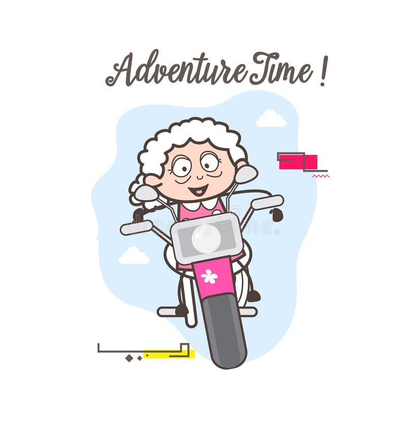 动画片现代老婆婆骑马自行车向量图形 库存例证