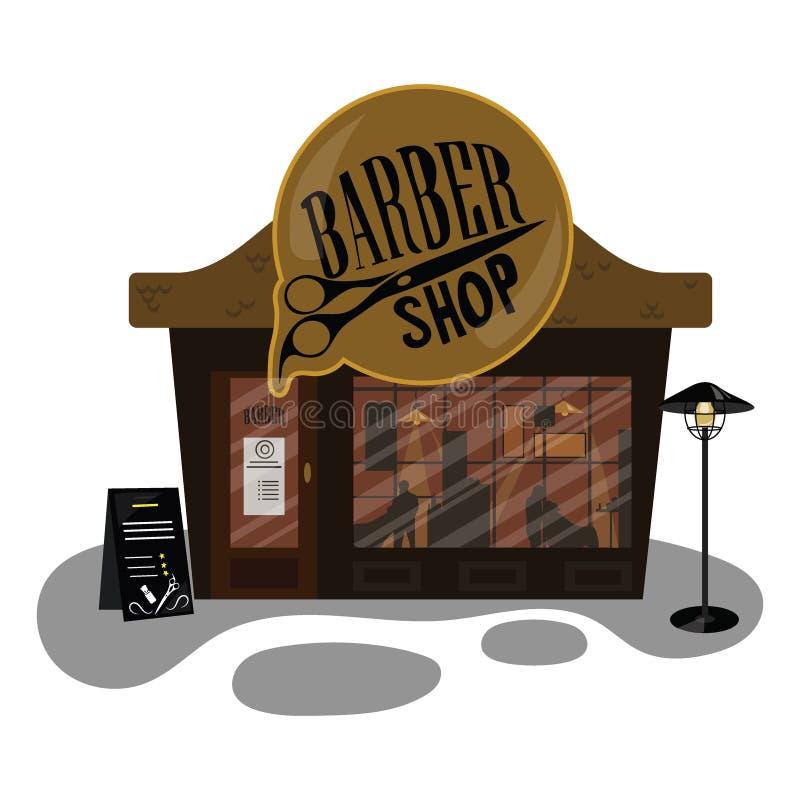 动画片理发店 小大厦是美发师 挥动白色的蓝色业务设计例证插入行动空间文本 向量例证
