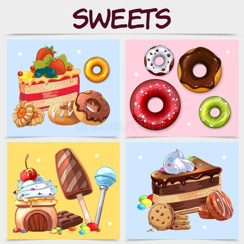 动画片甜点方形的概念 库存例证