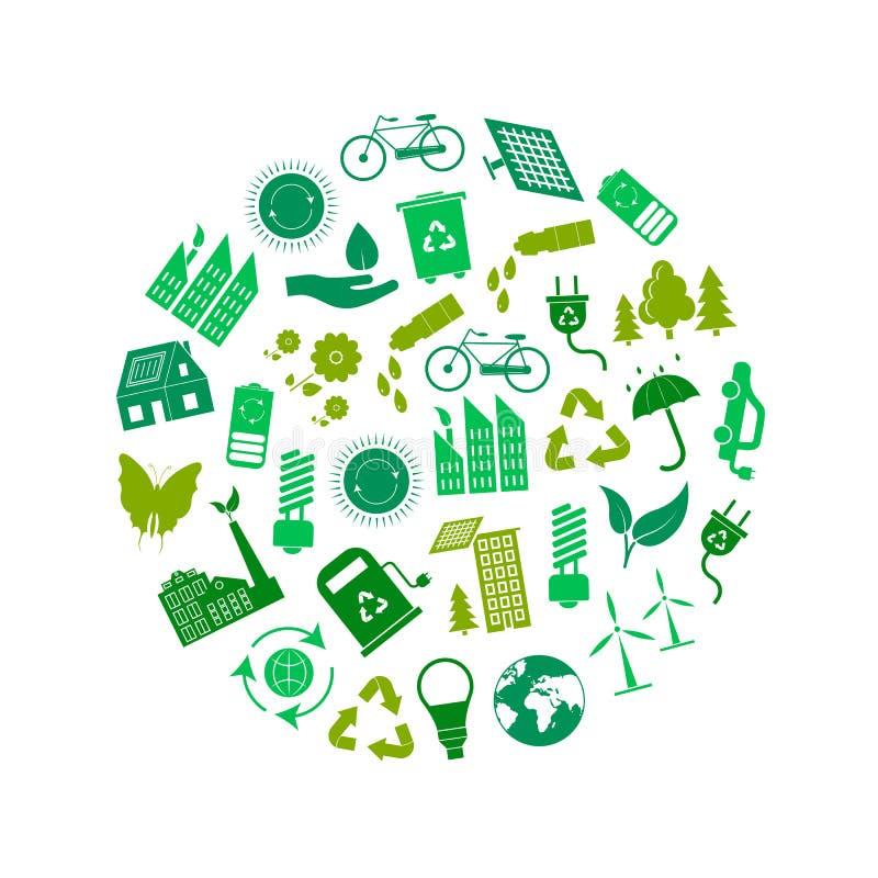 动画片生态标志绿色圆的设计模板广告 向量 皇族释放例证