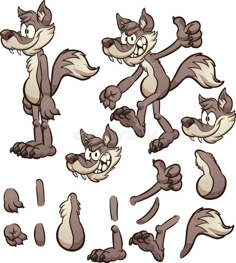 动画片用不同的身体轻拍的狼或土狼字符 库存例证