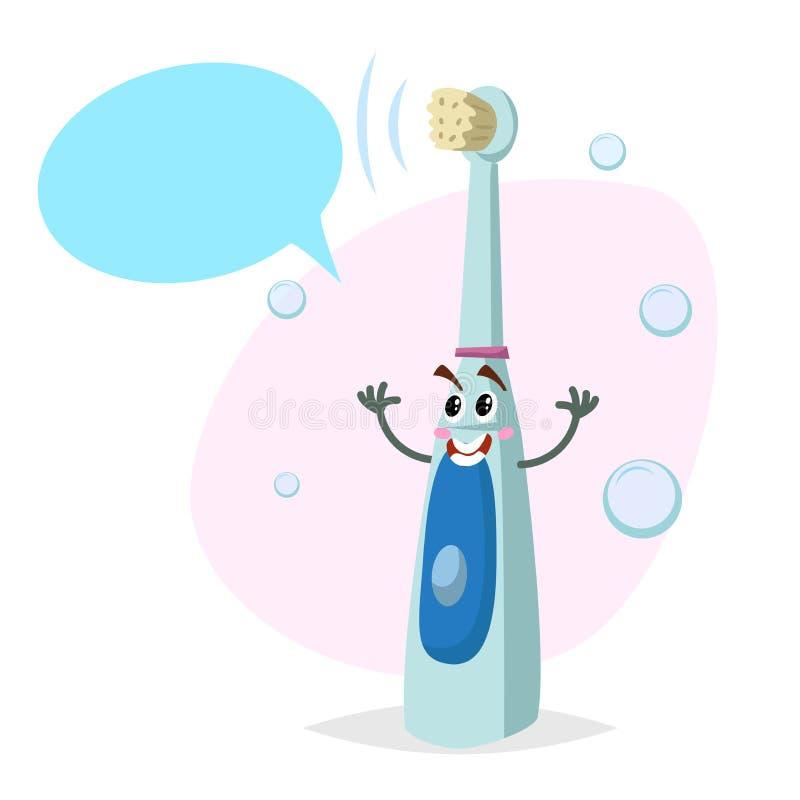 动画片电牙刷微笑的吉祥人 与假的讲话泡影的牙齿保护超音波字符 库存例证