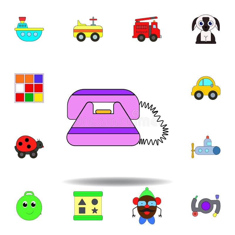 动画片电话玩具色的象 设置儿童玩具例证象 标志,标志可以为网,商标,流动应用程序,UI使用 库存例证