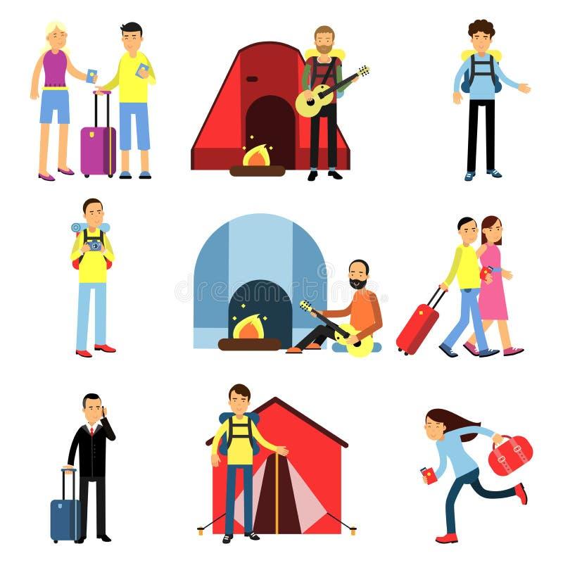 动画片男人和妇女被设置的游人字符 与吉他,远足,有行李的人们,家庭的野营的休闲 库存例证