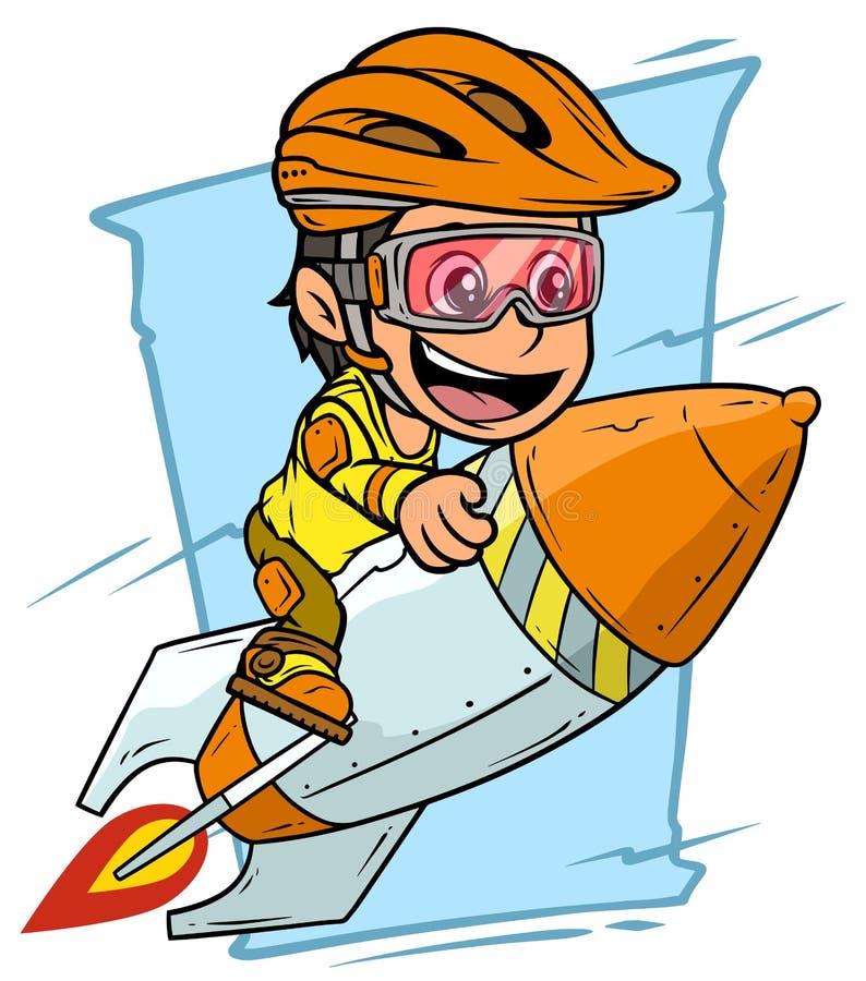 动画片男孩在橙色火箭的字符飞行 向量例证