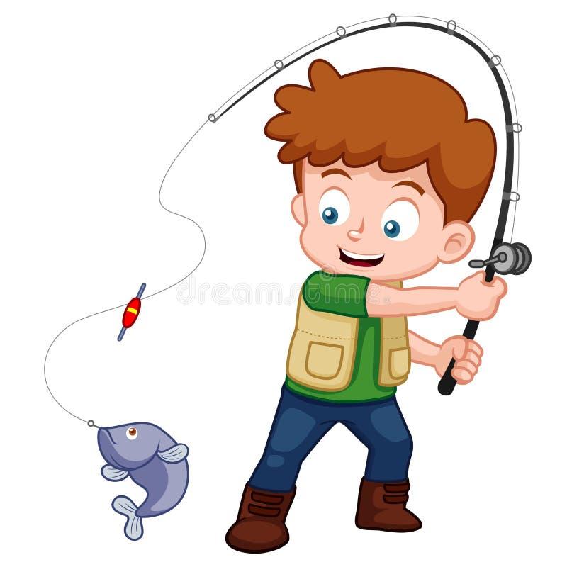 动画片男孩捕鱼 向量例证