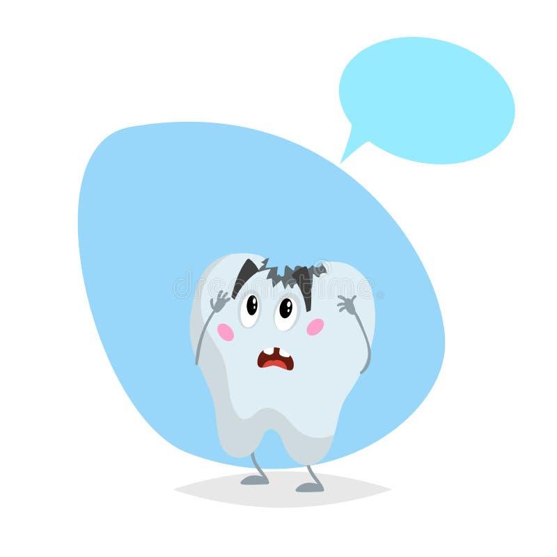 动画片病的牙哀伤的吉祥人 与假的讲话泡影的牙齿保护字符 库存例证