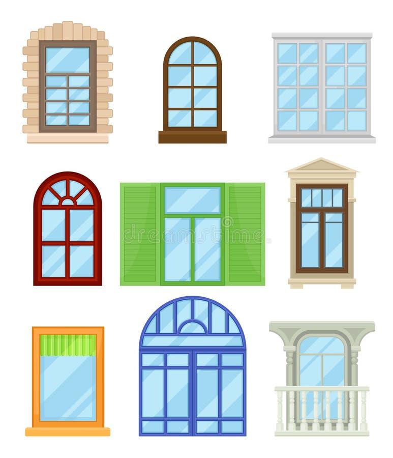 动画片的汇集上色了在白色背景的窗口 库存例证