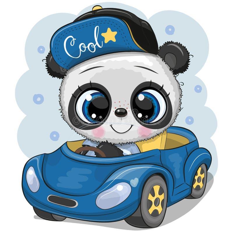 动画片盖帽的熊猫男孩在一辆蓝色汽车去 库存例证