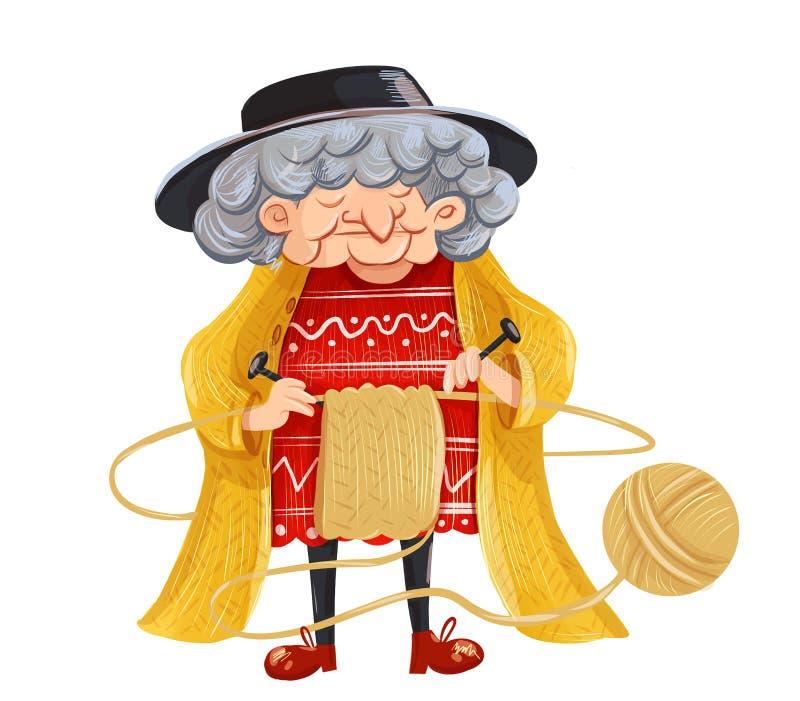 动画片祖母编织毛线衣 向量例证