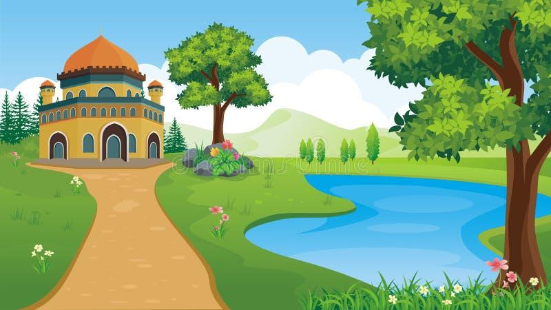 动画片穆斯林-有美好的风景的清真寺 向量例证