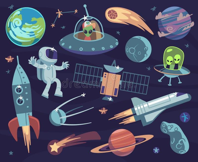 动画片空间集合 逗人喜爱的宇航员和飞碟外籍人、卫星行星和星 陨石和太空飞船孩子墙纸 向量例证