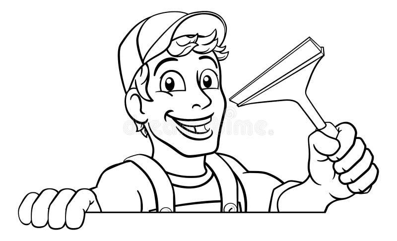 动画片窗户清洁橡皮刮板洗车擦净剂 库存例证