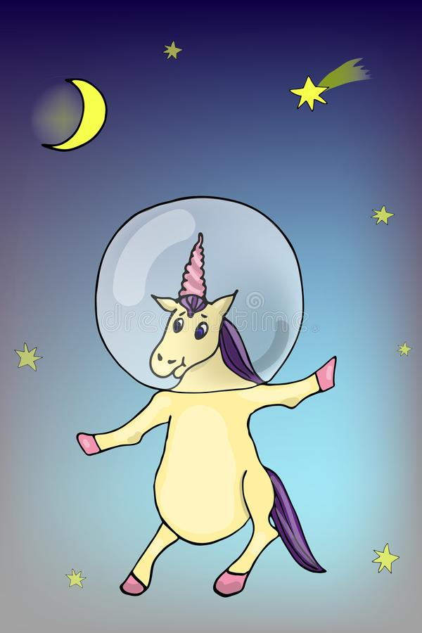 动画片童话太空帽的独角兽宇航员在反对星、彗星和月亮-一个月的自由空间 卡片 皇族释放例证