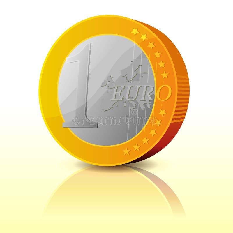 动画片简单的欧洲硬币 向量例证