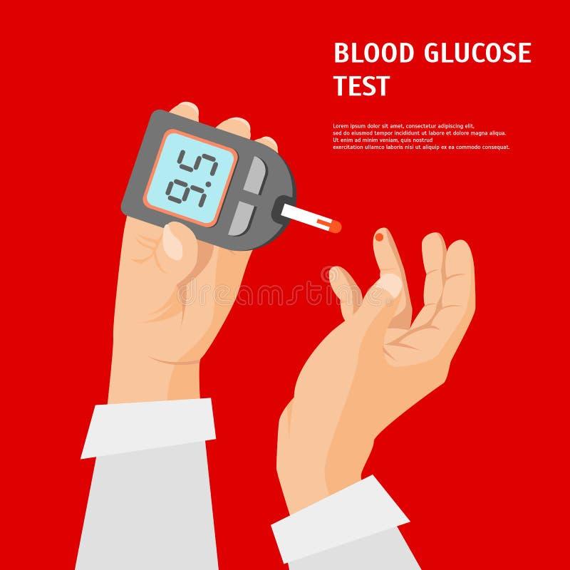 动画片糖尿病概念手藏品Glucometer卡片海报 向量 向量例证