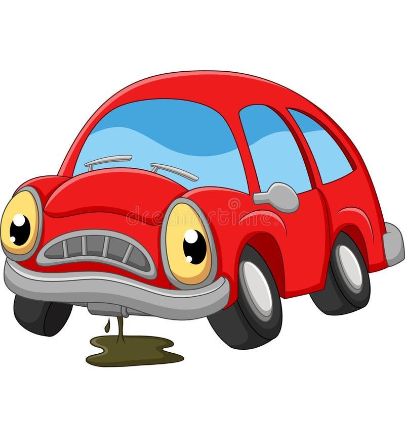 动画片红色汽车哀伤需要修理 库存例证