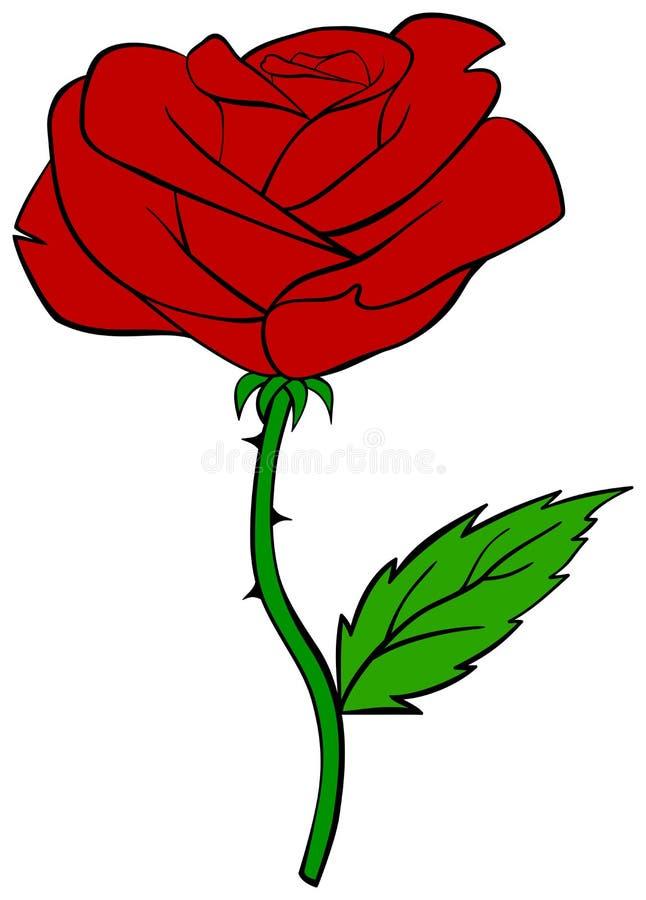 动画片红色玫瑰 也corel凹道例证向量 库存例证