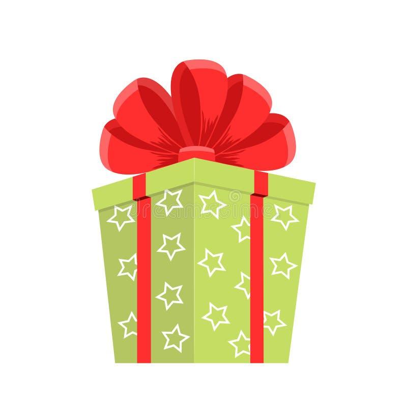 动画片绿色礼物盒 圣诞礼物、gifting的箱子和xmas当前寒假或者生日宴会礼物标志 秘密拳击 库存例证