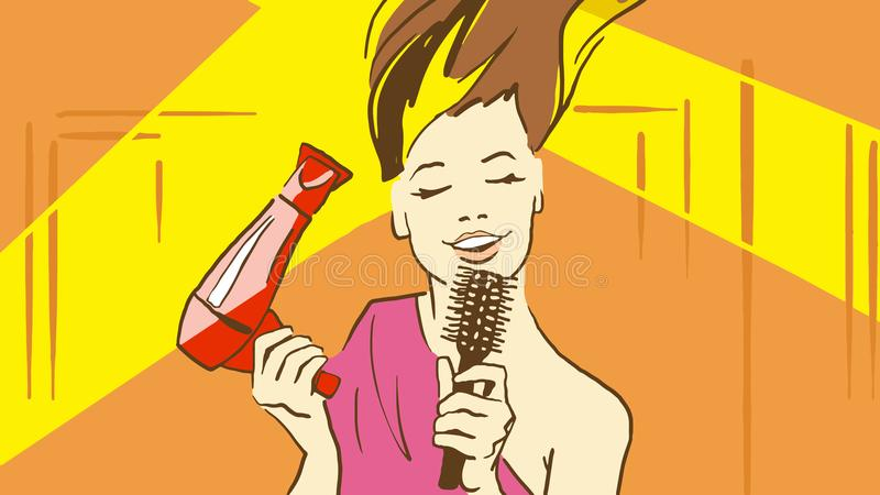 动画片美丽的夫人Drying由拿着象话筒的Hairdryer和Sinnging歌曲的Her Hair一把发刷 向量例证